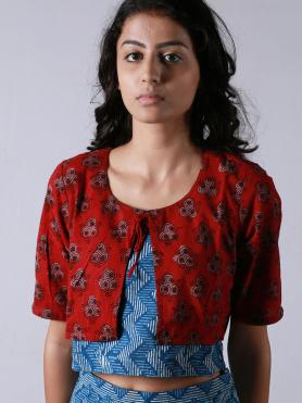 Blue Red Hand Block Printed Cotton Crop Top with Culottes - Set of 2