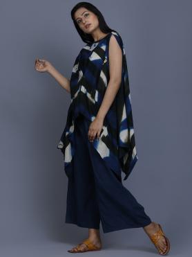 Blue Black Shibori Dyed Cotton Top