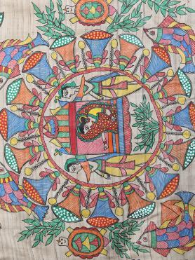 Ecru Multi Color Hand Painted Madhubani Tussar Silk  Dupatta