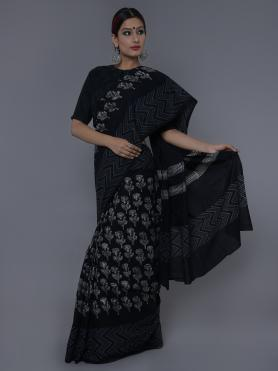 Black White Cotton Block Printed Saree