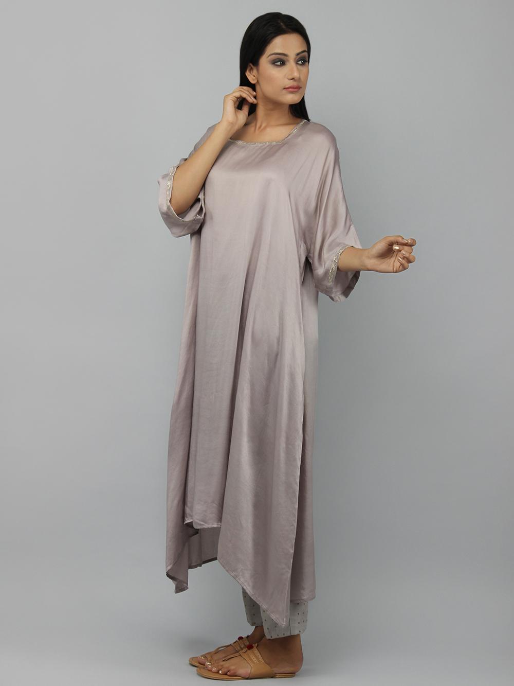 Grey Gajji Silk Embroidered Kurta with Cotton Pants - Set of 2