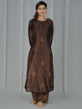 Brown Maroon Hand Block Printed Suit - Set of 3