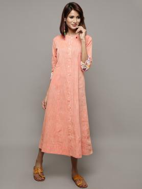 Orange Cotton Dress with Scarf - Set of 2
